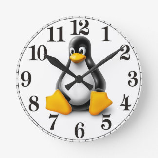 Linux Tux the Penguin Round Clock
