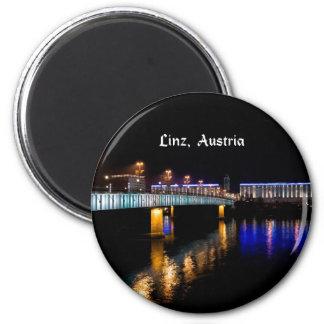 Linz, Austria cityscape at night Magnet