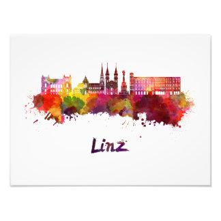 Linz skyline in watercolor photo print