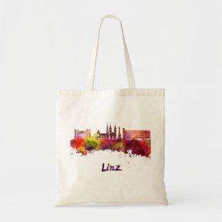 Linz skyline in watercolor tote bag