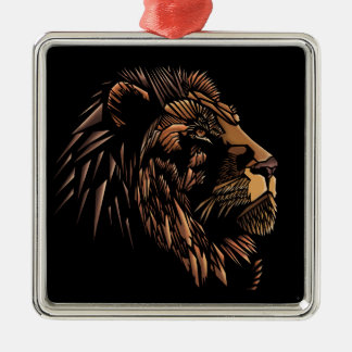 Lion Abstract Illustration Silver-Colored Square Decoration