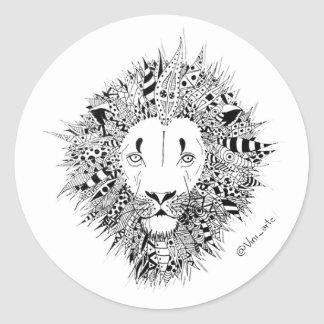 Lion adhesive classic round sticker