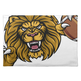 Lion American Football Ball Sports Mascot Placemat