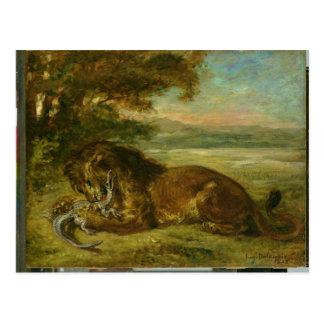 Lion and Alligator, 1863 Postcard