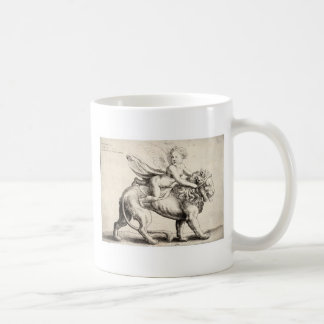 lion and cherub mug