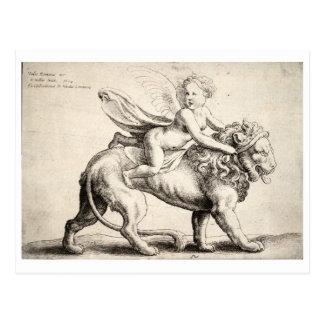 lion and cherub postcard