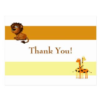 Lion and Giraffes Thank You Postcard