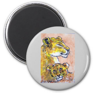 lion and her cub 6 cm round magnet