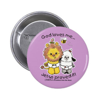 Lion and Lamb Babies 6 Cm Round Badge
