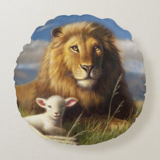 Lion and Lamb Round Throw Pillow