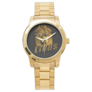 Lion And Lion Logo, Large Unisex Gold Watch. Watch