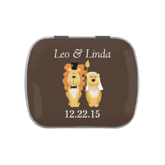 LIon and Lioness Bride/Groom Wedding Tin Jelly Belly Tin