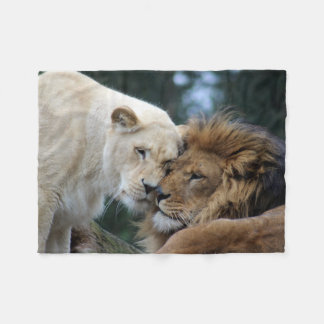 Lion and Lioness Fleece Blanket