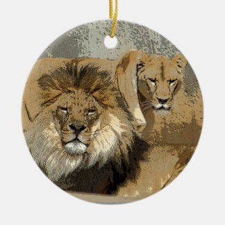 LION AND LIONESS PAIR ORNAMENT