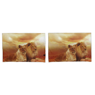 Lion and Lioness Pillowcase