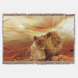 Lion and Lioness Throw Blanket
