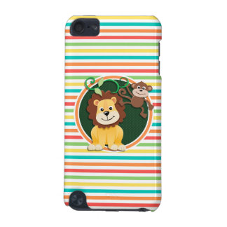 Lion and Monkey Bright Rainbow Stripes iPod Touch (5th Generation) Case