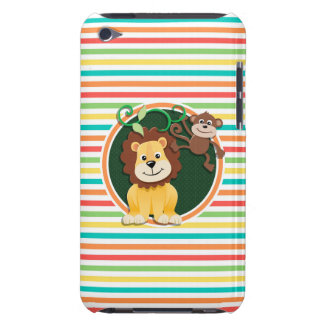 Lion and Monkey Bright Rainbow Stripes Barely There iPod Cases