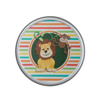Lion and Monkey Bright Rainbow Stripes Speaker