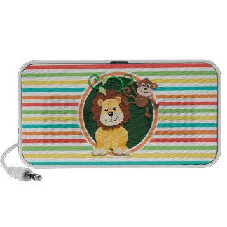 Lion and Monkey Bright Rainbow Stripes Mini Speaker