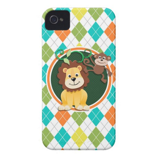 Lion and Monkey on Colorful Argyle Pattern iPhone 4 Cases