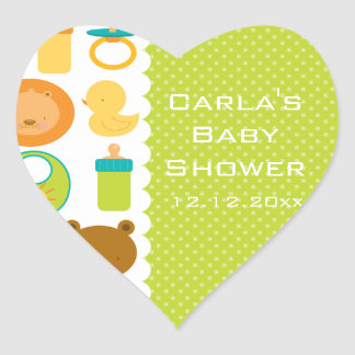 Lion and Teddy Bear Baby Shower Heart Stickers