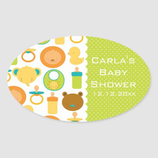 Lion and Teddy Bear Baby Shower Oval Stickers