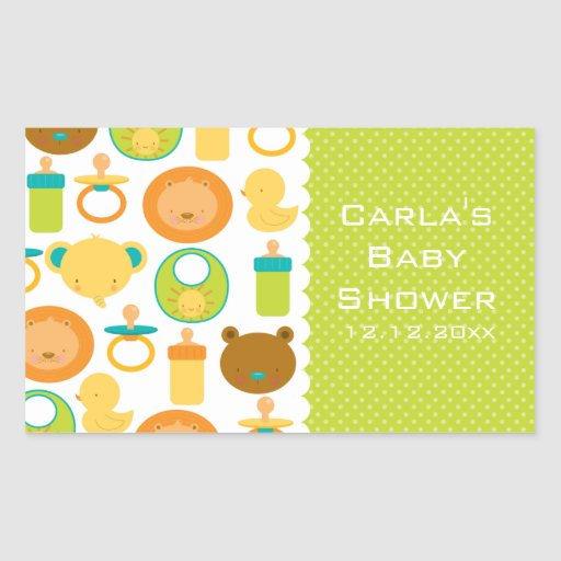 Lion and Teddy Bear Baby Shower Rectangle Stickers