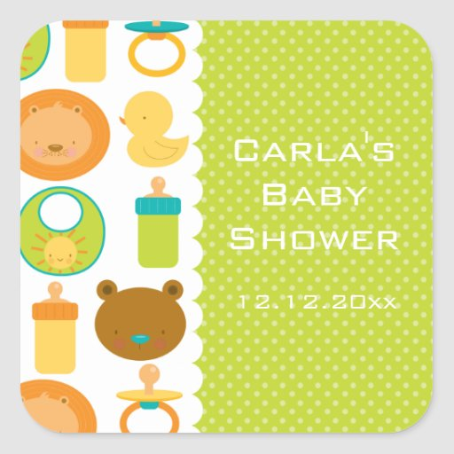 Lion and Teddy Bear Baby Shower Square Stickers