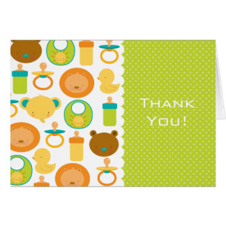 Lion and Teddy Bear Baby Shower Thank You Card