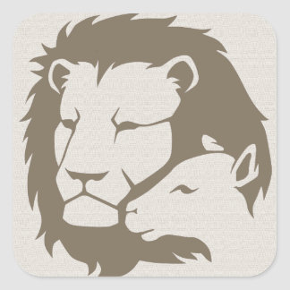 Lion and The Lamb Square Sticker