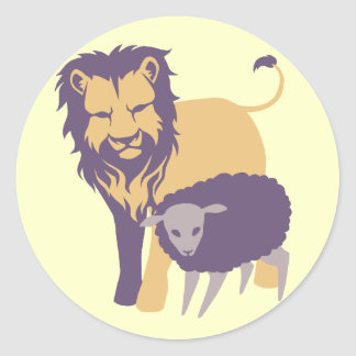 Lion and The Sheep Round Sticker