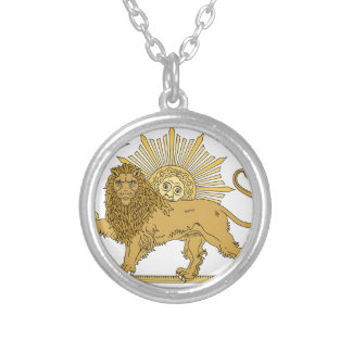 Lion and the sun silver plated necklace