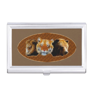 Lion And Tiger And Bear Business Card Holder