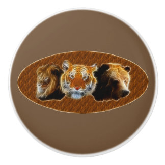 Lion And Tiger And Bear Ceramic Knob