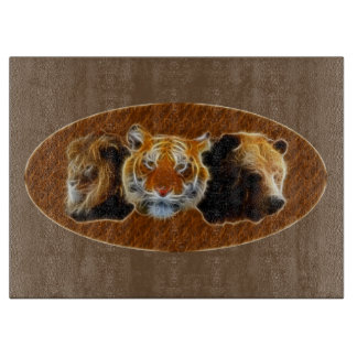 Lion And Tiger And Bear Cutting Board
