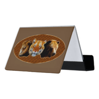 Lion And Tiger And Bear Desk Business Card Holder