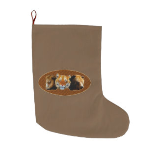 Lion And Tiger And Bear Large Christmas Stocking