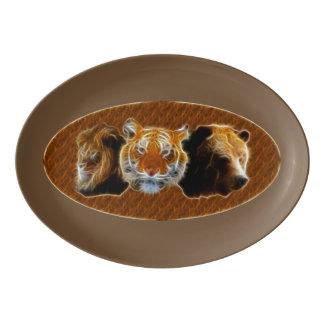 Lion And Tiger And Bear Porcelain Serving Platter