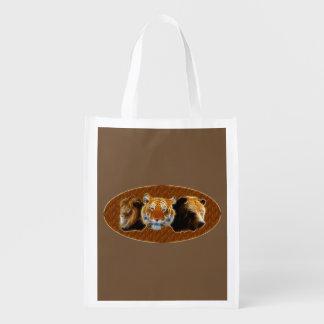 Lion And Tiger And Bear Reusable Grocery Bag