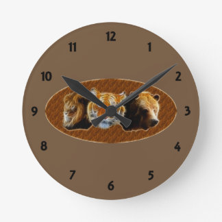 Lion And Tiger And Bear Round Clock
