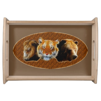 Lion And Tiger And Bear Serving Tray