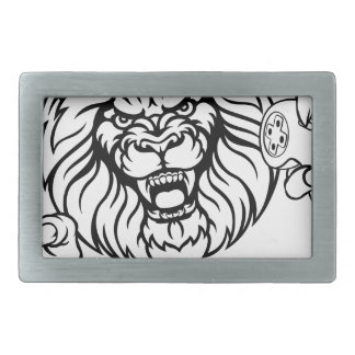 Lion Angry Esports Mascot Rectangular Belt Buckle