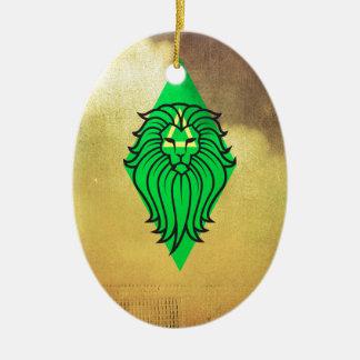 Lion Art Design Ceramic Oval Decoration