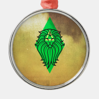 Lion Art Design Silver-Colored Round Decoration