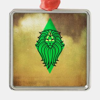 Lion Art Design Silver-Colored Square Decoration