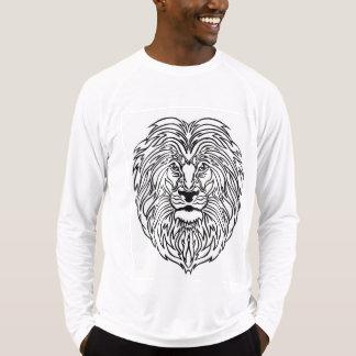 Lion Art Print on Men's Long-sleeve White T-Shirt