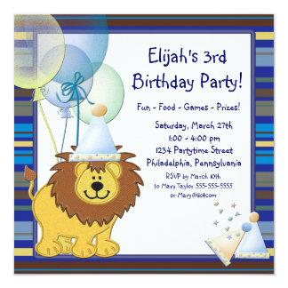 Lion Balloons Boy 3rd Birthday Party Invitation