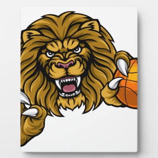 Lion Basketball Ball Sports Mascot Plaque