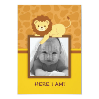 Lion Birth announcement card